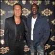 Retrouvailles entre Jean-Roch et Akon, au VIP Room à Paris, le vendredi 30 mars 2012.