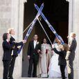 Veronika Zuzulová et son mari Romain Velez le 27 avril 2012 à la sortie de la cathédrale Saint Martin à Bratislava en Slovaquie