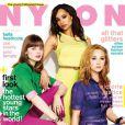 Bella Heathcote, Zoë Kravitz et Juno Temple en couverture du magazine Nylon de mai 2012.
