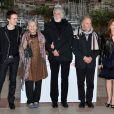 Alexandre Tharaud, Emmanuelle Riva, Michael Haneke, Jean-Louis Trintignant et Isabelle Huppert pendant la présentation du film  Amour , à Cannes le 20 mai 2012