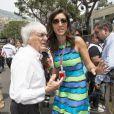 Bernie Ecclestone et sa femme Fabiana Flosi dans le paddock du Grand Prix de Monaco le 27 mai 2012