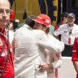 Antonio Banderas et Fernando Alonso dans le paddock du Grand Prix de Monaco le 27 mai 2012