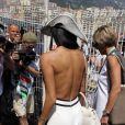 Nicole Scherzinger dans le paddock du Grand Prix de Monaco le 27 mai 2012