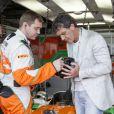 Antonio Banderas dans le paddock du Grand Prix de Monaco le 27 mai 2012