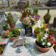 La tombe de Romy Schneider au cimetière de Boissy-sans-Avoir dans les Yvelines. Elle est recouverte de fleurs le 27 mai 2012, soit trente ans après sa disparition