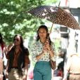 Zoe Saldana sur le tournage du film Blood Ties à New York - 1er juin 2012