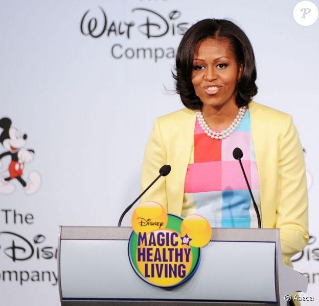 Michelle Obama lors d'une l'annonce de l'engagement de Walt Disney, dans la lutte contre l'obésité, à Washington le 5 juin 2012