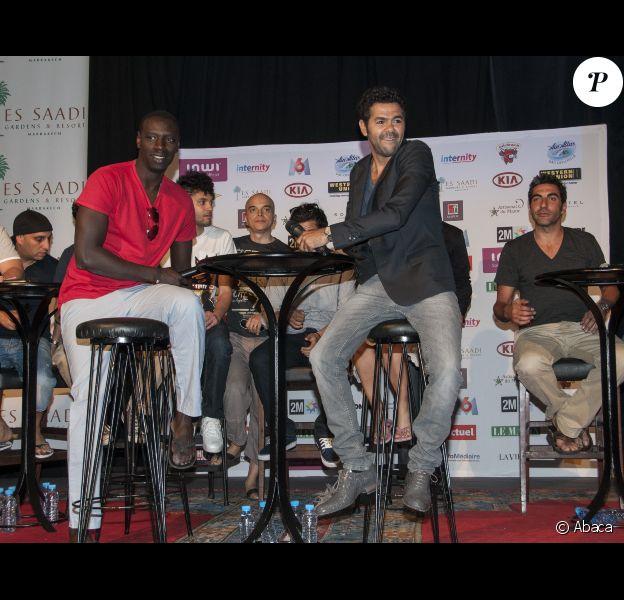 Jamel Debbouze et Omar Sy lors de la présentation du deuxième Festival de rire de Marrakech à Marrakech le vendredi 8 juin 2012