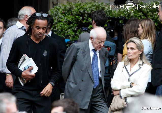 Yannick Noah et JACQUES CHANCEL lors des obs��ques de Thierry.