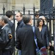 Estelle Denis lors des obsèques de Thierry Roland le 21 juin 2012 en l'église Sainte-Clotilde à Paris