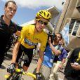 Bradley Wiggins, maillot jaune à l'issue de la dixième étape sur le Tour de France le 11 juillet 2012 entre Mâcon et Bellegarde-sur-Valserine
