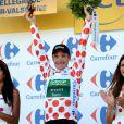 Thomas Voeckler a endossé le maillot à pois du meilleur grimpeur après avoir décroché sa première victoire d'étape sur le Tour de France le 11 juillet 2012 entre Mâcon et Bellegarde-sur-Valserine