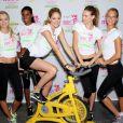 Lindsay Ellingson, Arlenis Sosa, Doutzen Kroes, Behati Prinsloo, Erin Heatherton lors d'un événement sportif à New York le 11 juillet 2012