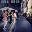 Johnny Hallyday  sur la scène du Festival d'été avant le grand soir, aux plaines   d'Abraham, à Québec, le 10 juillet 2012.