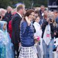 La princesse Madeleine de Suède.   La princesse Victoria de Suède a fêté dans la joie et l'allégresse son 35e anniversaire le 14 juillet 2012, assistant comme chaque année dans la soirée au festival de Borgholm, sur l'île d'Öland, en habit traditionnel et en compagnie de sa famille - le prince Daniel, le roi Carl XVI Gustaf, la reine Silvia, le prince Carl Philip et la princesse Madeleine.