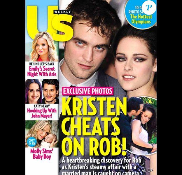 Robert Pattinson et Kristen Stewart en couverture de Us Weekly qui publie en médaillon une photo de Kristen Stewart et Rupert Sanders