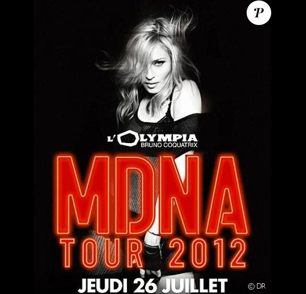 Madonna, annoncée à L'Olympia pour un concert unique le 26 juillet 2012.