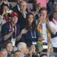 """Kate Middleton, le prince William et le prince Harry ont vibré le 5 août 2012 au stade olympique lors du sacre d'Usain Bolt aux JO de Londres, vainqueur du 100m en 9""""63."""