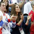 Kate Middleton lors des finales de gymnastique du 5 août 2012 aux Jeux olympiques de Londres, à la Greenwich Arena.