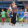 Heidi Klum et son adorable gang dans les rues de New York, le 6 août 2012.