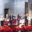 Anna Gaylor, Richard Berry, Pascale Louange, Raphaeline Goupilleau et Jonathan Lambert, héros de la pièce Le Début de la fin, au festival de Ramatuelle 2012