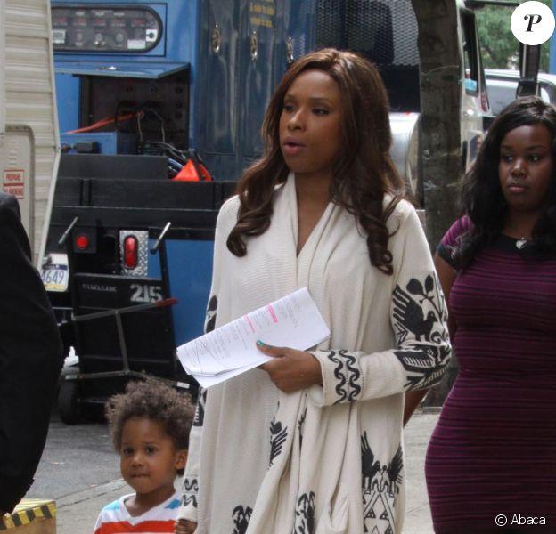 Jennifer Hudson et son adorable fils David Otunga sur le tournage de Smash à New York le 20 août 2012