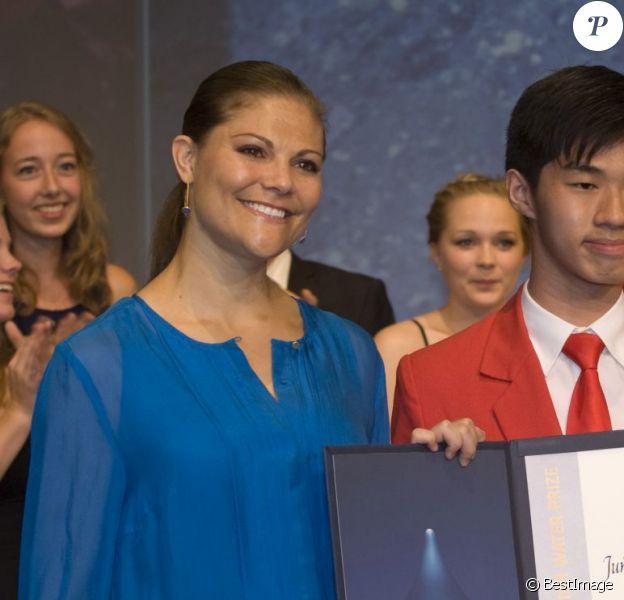 La princesse Victoria de Suède lors de la cérémonie de remise du Junior Water Prize dont elle est la marraine, à Stockholm le 29 août 2012.