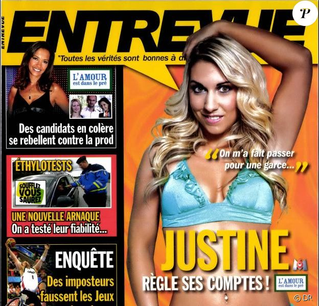 Justine en couverture d'Entrevue