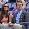 Pippa Middleton et Spencer Vegosen, spectateurs stylés et de la rencontre entre Victoria Azarenka et Samantha Stosur en quart de finale de l'US Open. New York, le 4 septembre 2012.