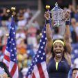 Serena Williams pouvait laisser éclater sa joie après avoir décroché son quatrième US Open et son quinzième Grand Chelem en venant à bout de Victoria Azarenka en finale de l'US Open le 9 septembre 2012