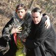Marion Cotillard et Joaquin Phoenix sur le tournage de  Nightingale  de James Gray, à New York en janvier 2012.