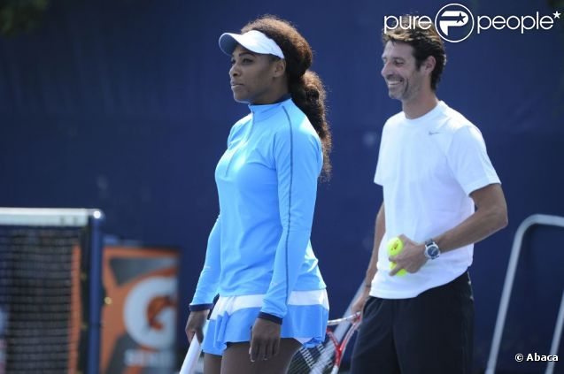 Serena Williams et Patrick Mouratoglou le 7 septembre 2012 lors de l'US Open