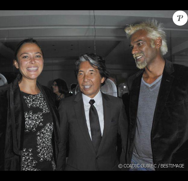 Sandrine Quétier, Satya Oblette et Kenzo lors de la soirée de lancement de la collection haute joaillerie 10 Royale, par Kenzo Takada et Vianney d'Alançon au 10 rue Royale, le 12 septembre 2012