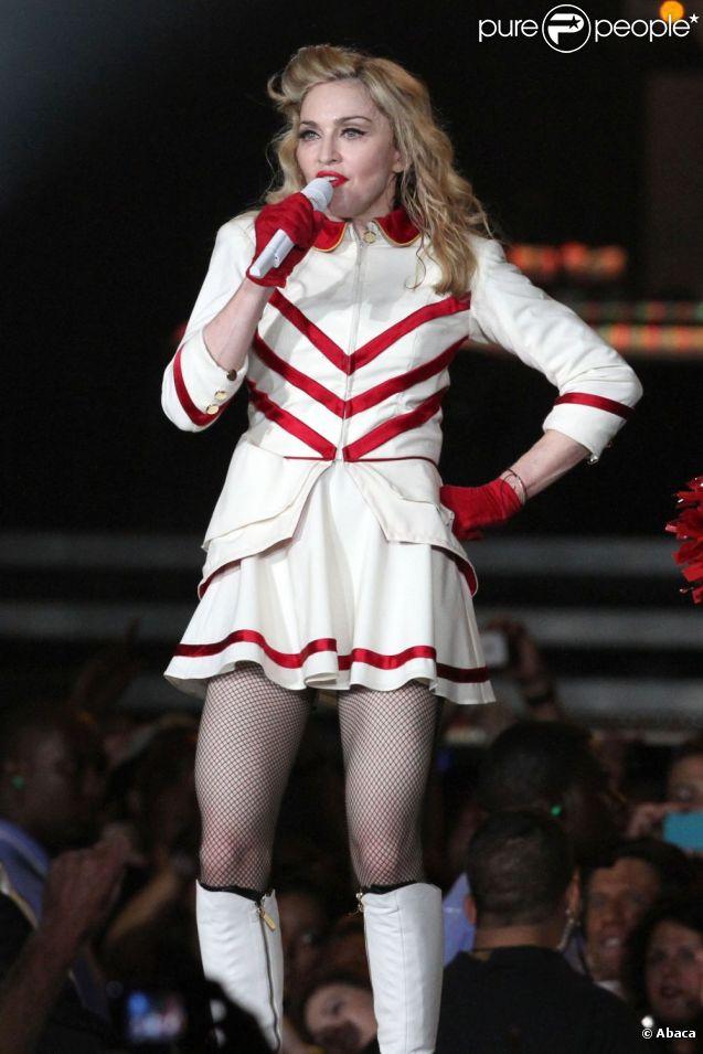 Madonna sur scène à l'occasion du MDNA Tour à New York, le 6 septembre 2012.