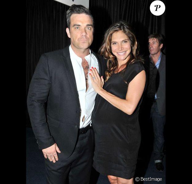 Robbie Williams et son épouse Ayda Field en septembre 2012 lors d'une soirée à Londres