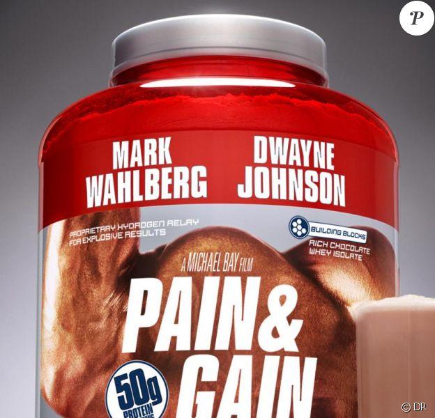 La première afficher de la comédie d'action Pain and Gain de Michael Bay, avec Mark Wahlberg et Dwayne Johnson.