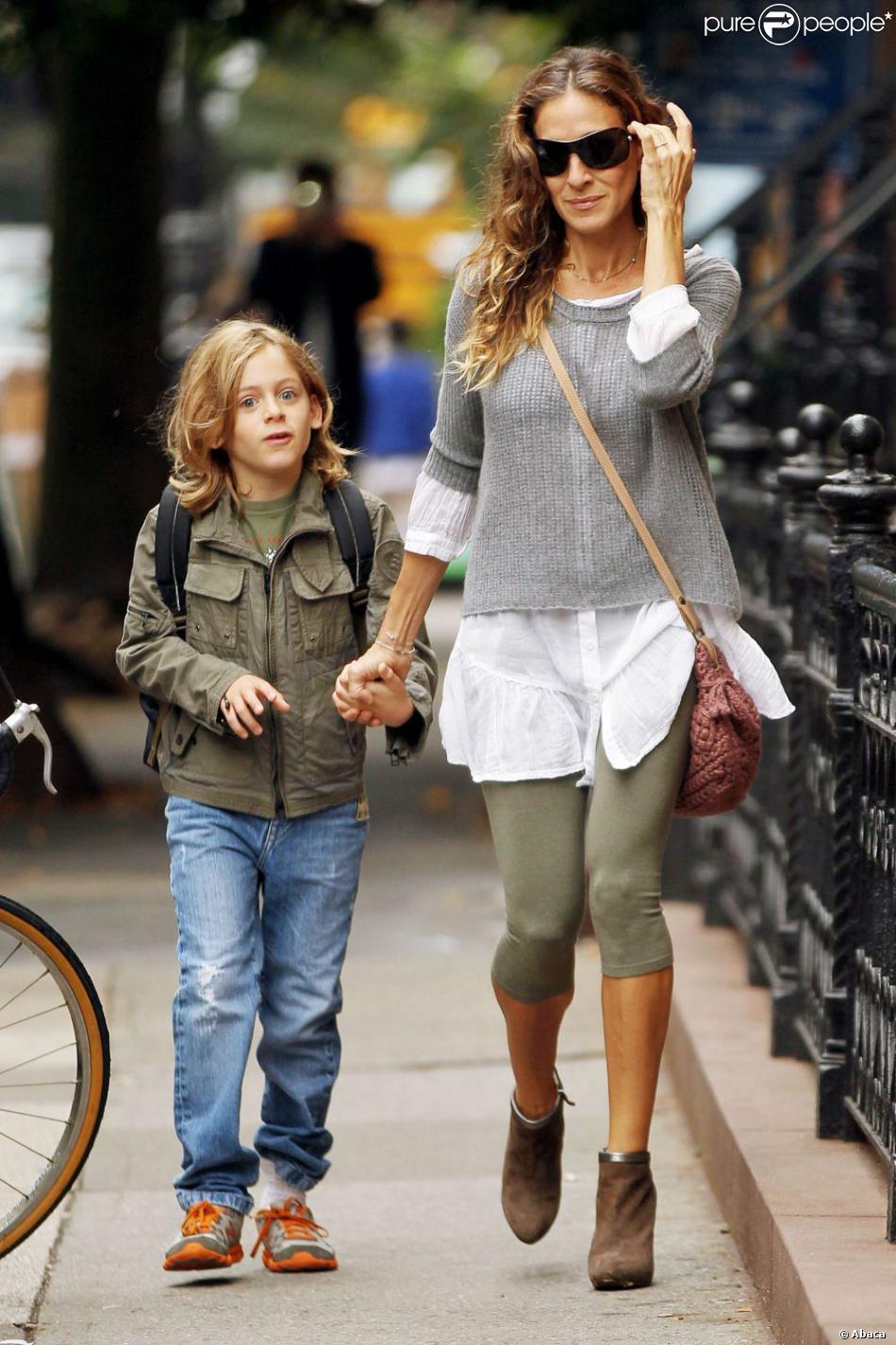 Sarah Jessica Parker avec son fils à New York le 3 octobre 2012.