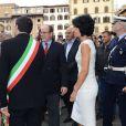 Le prince Albert de Monaco et la princesse Charlene en visite à Florence le 10 octobre 2012, reçus par le maire Matteo Rizzi et son épouse Agnese à l'Hôtel de Ville (Palazzo Vecchio), avant le Bal du Lys au Palazzo Pitti.