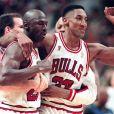 Michael Jordan et Scottie Pippen à Chicago lors d'un match face au Jazz de l'Utha