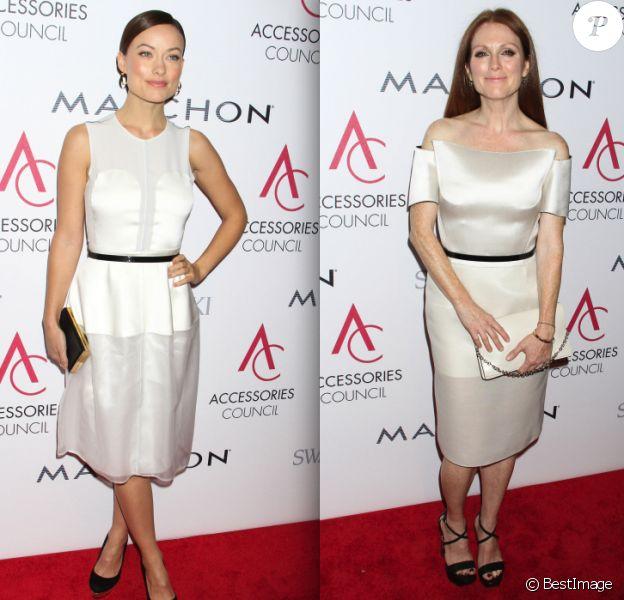 Olivia Wilde et Julianne Moore, toutes deux habillées par Calvin Klein, à la cérémonie des Ace Awards 2012 à New York, le 5 novembre 2012.