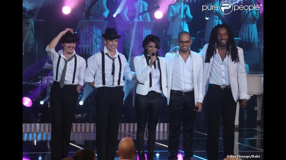 Shy'm lors de l'enregistrement de l'émission Les Années Bonheur n°43, le 23 octobre 2012, pour une diffusion le 15 décembre prochain.