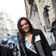 Marine Lorphelin, Miss France 2013, à la sortie d'Europe 1 avec Sylvie Tellier, le 10 décembre 2012