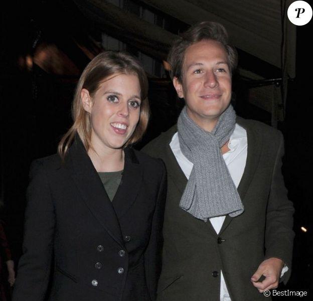 La princesse Beatrice d'York et son petit ami Dave Clark de sortie au Loulou's dans Mayfair, à Londres, le 13 décembre 2012.
