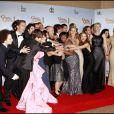 Le casting de Glee, récompensé à la 68e cérémonie des Golden Globes à Los Angeles le 16 janvier 2011.