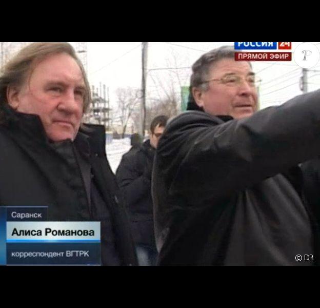 Gérard Depardieu lors de son arrivée en Mordovie, le dimanche 6 janvier 2013.