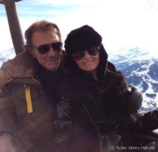 Johnny et Laeticia à Gstaad le 6 janvier 2013.