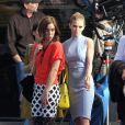 Annalynne McCord et Jessica Stroup de 90210 sur le tournage de la série, à Los Angeles, le 31 janvier 2013.