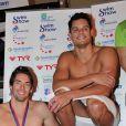 Florent Manaudou et Camille Lacourt lors du Swim Show à la piscine olympique de Courbevoie le 9 fevrier 2013.