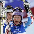 Tessa Worley laisse éclater sa joie après sa victoire aux mondiaux de Schladming en Autriche le 14 février 2013 en géant