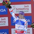 Tessa Worley, radieuse lors de sa victoire aux mondiaux de Schladming en Autriche le 14 février 2013 en géant